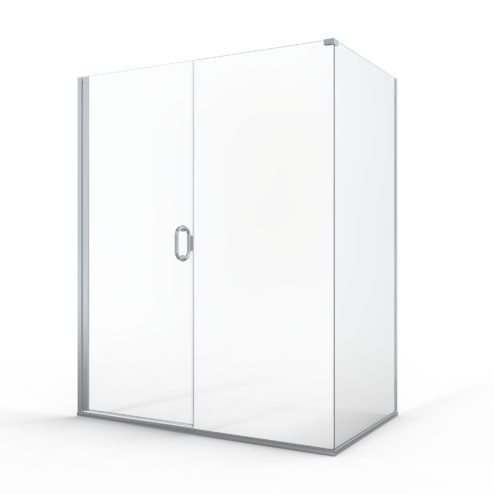 Fusion Semi-Frameless 1/4-inch Glass Swing Door, 3/8-inch Inline Panel & Return Panel