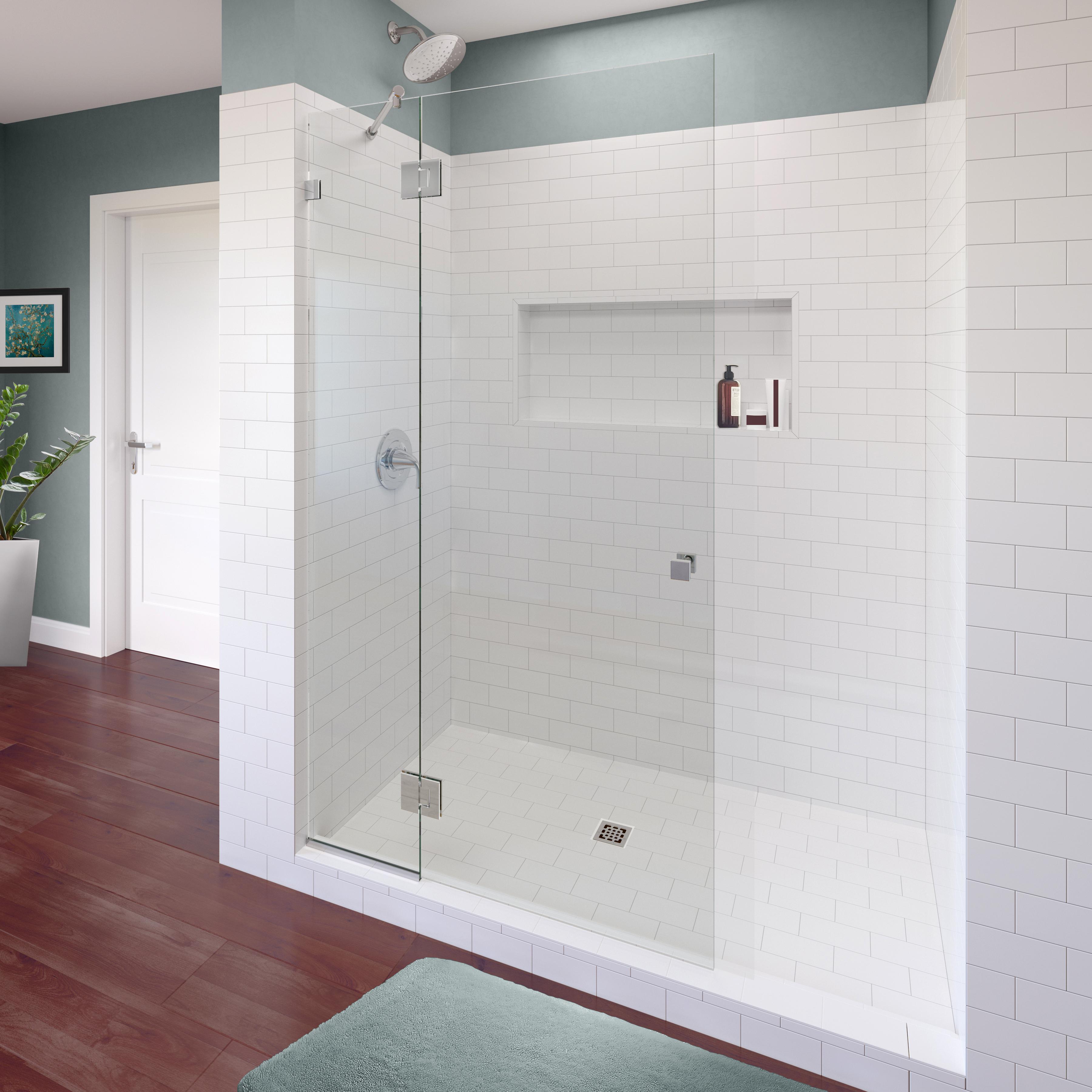 Geolux Frameless 38 Inch Glass Shower Screen Basco Shower Doors