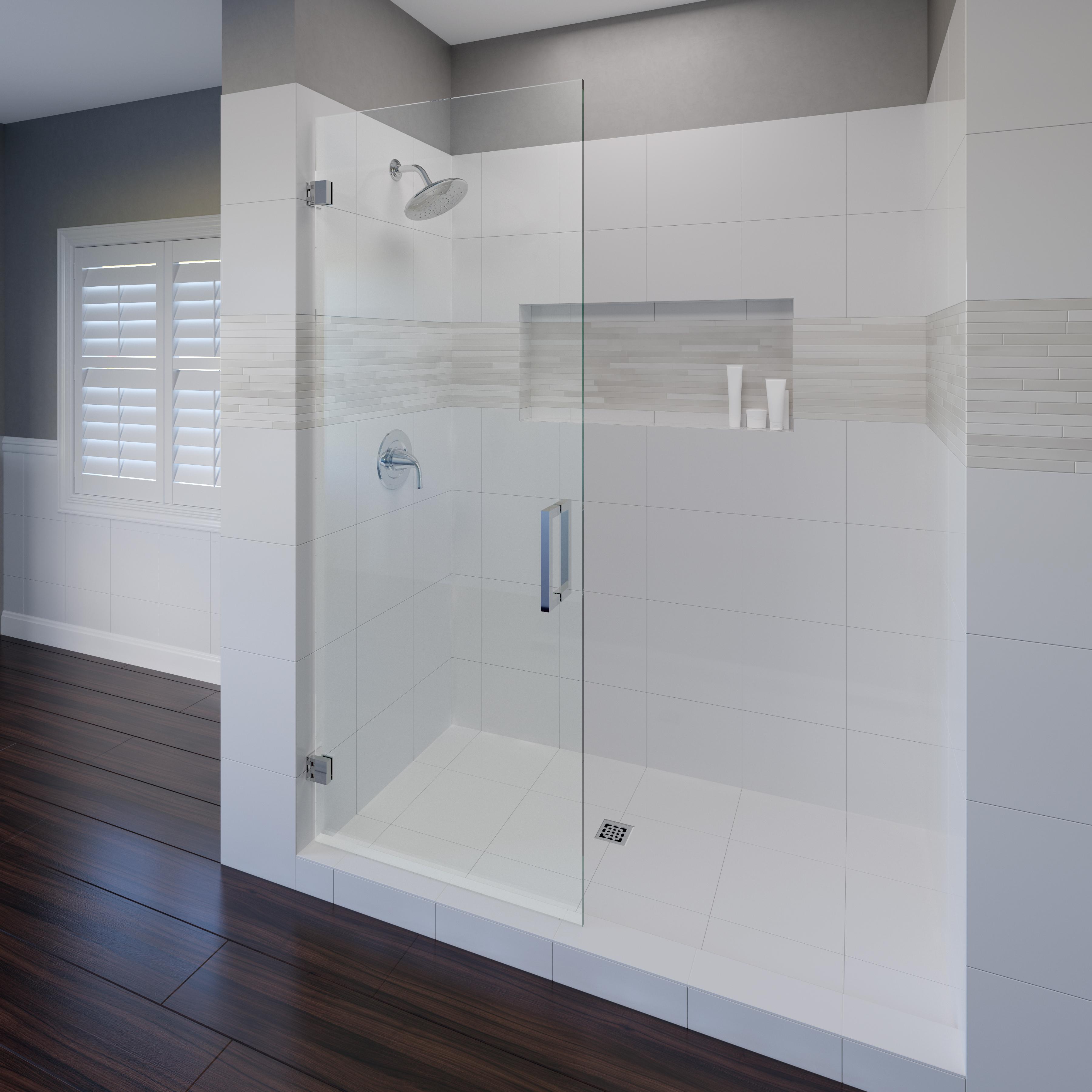 Geolux Frameless 3 8 Inch Glass Swing Shower Basco