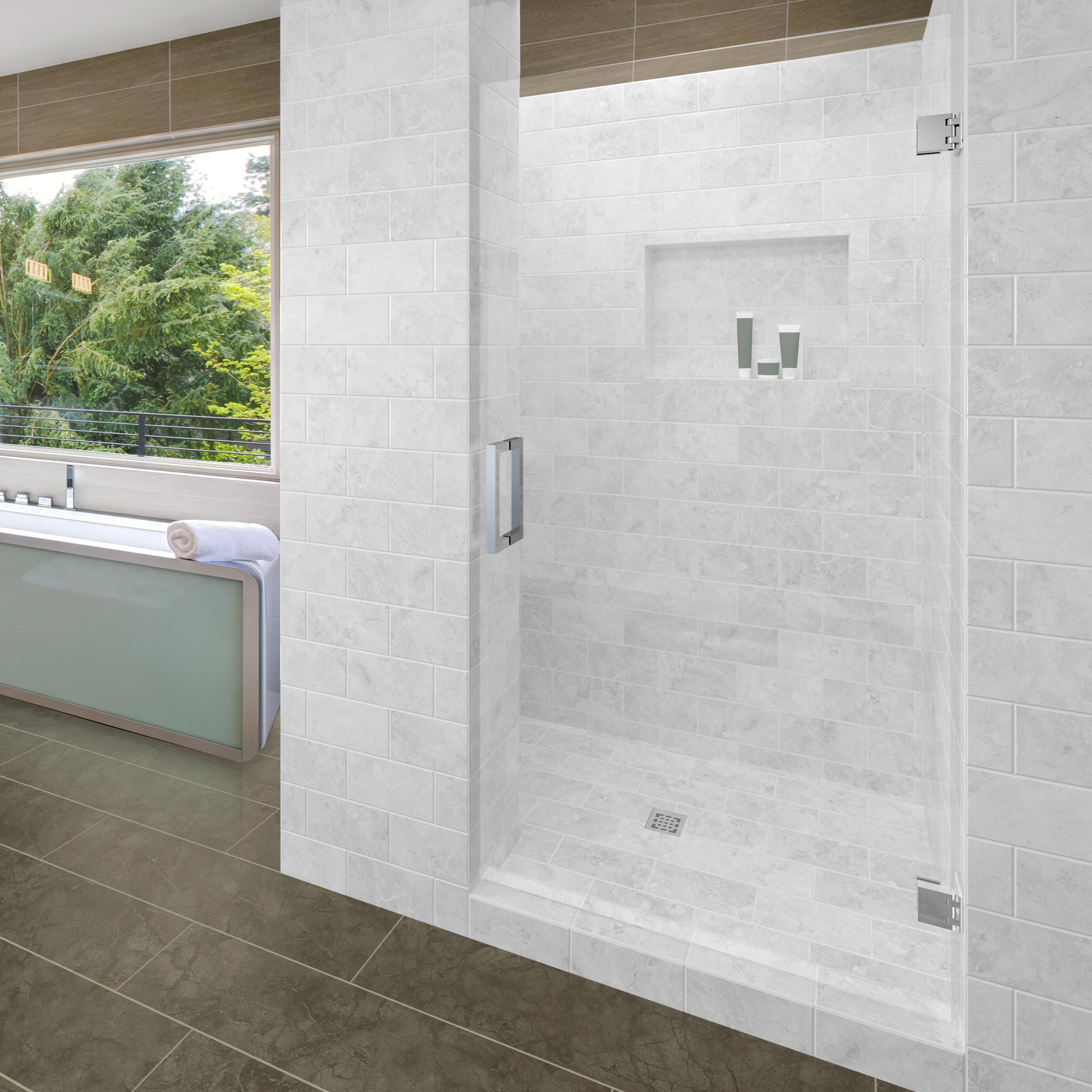 Geolux Frameless 3 8 Inch Glass Swing Shower Door Basco