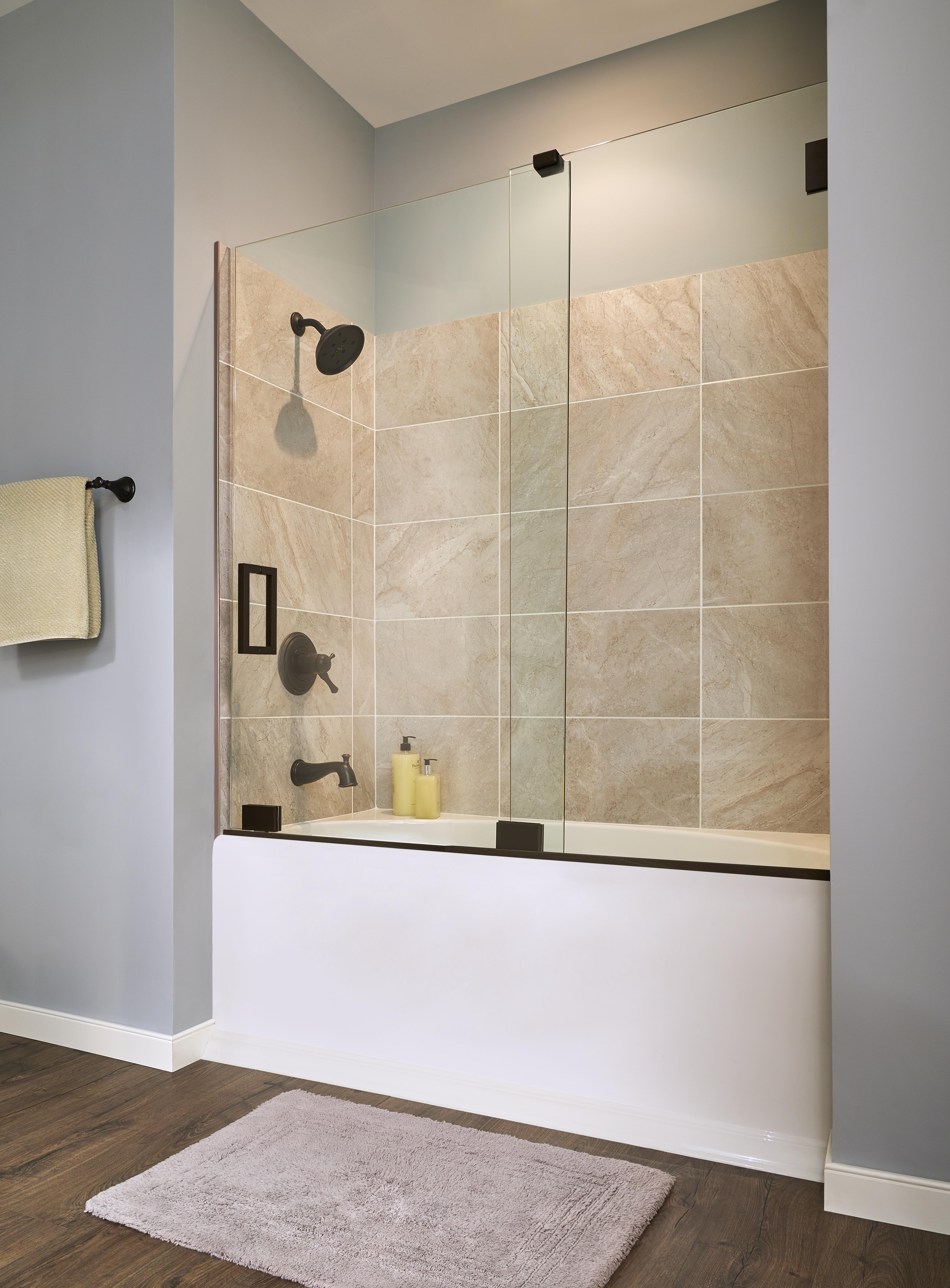 Geolux Frameless 38 Inch Glass Bottom Rolling Basco Shower Doors
