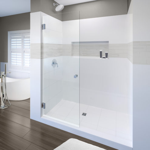 Geolux Frameless 3/8-inch Glass Swing Shower Screen