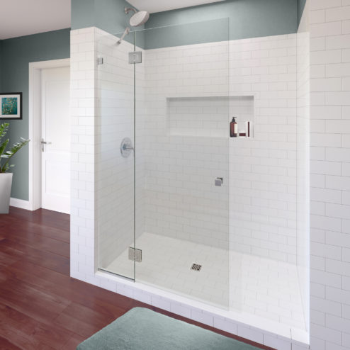 Geolux Frameless 3/8-inch Glass Shower Screen & Swing Panel