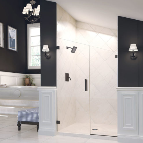 Geolux Frameless 3/8-inch Glass Swing Door & Panel Shower Door