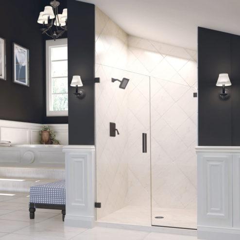 Geolux Frameless 3/8-inch Glass Swing Door & Panel Shower Door