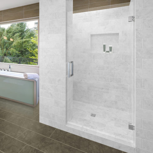 Geolux Frameless 3/8-inch Glass Swing Shower Door