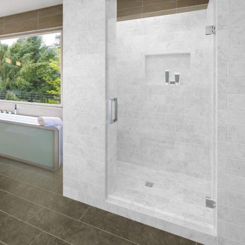 Geolux Frameless 3/8-inch Glass Swing Shower Door