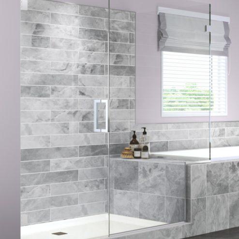 Geolux Frameless 3/8-inch Glass Swing Door, Inline Panel, & Return Panel Shower Door