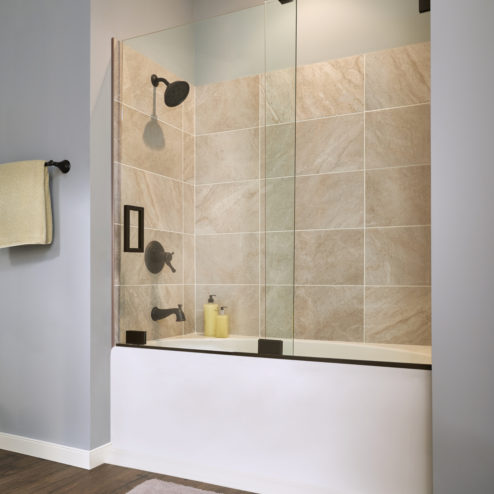 Geolux Frameless 3/8-inch Glass Bottom Rolling Door & 1/2-inch Panel Shower Door