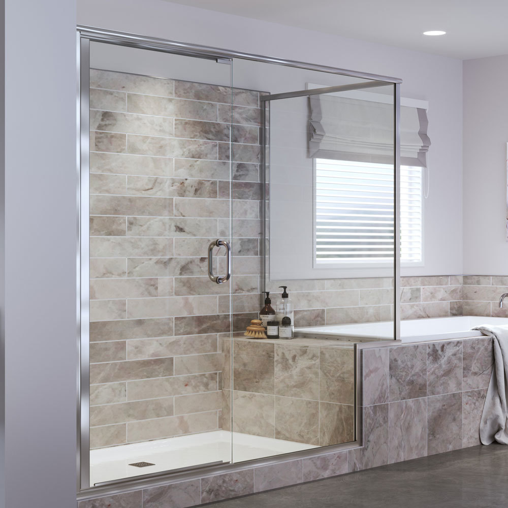Frameless Shower Doors.Infinity Semi Frameless 1 4 Inch Glass Swing Basco Shower Doors