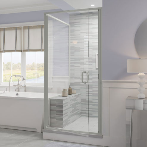 Infinity Semi-Frameless 1/4-inch Glass Swing Door & Return Panel Shower Door
