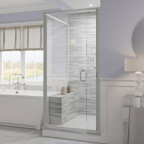 Infinity Semi-Frameless 1/4-inch Glass Swing Door & Return Panel Shower Door