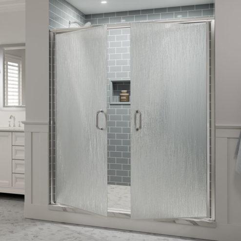 Infinity Semi-Frameless 1/4-inch Glass French Swing Shower Doors