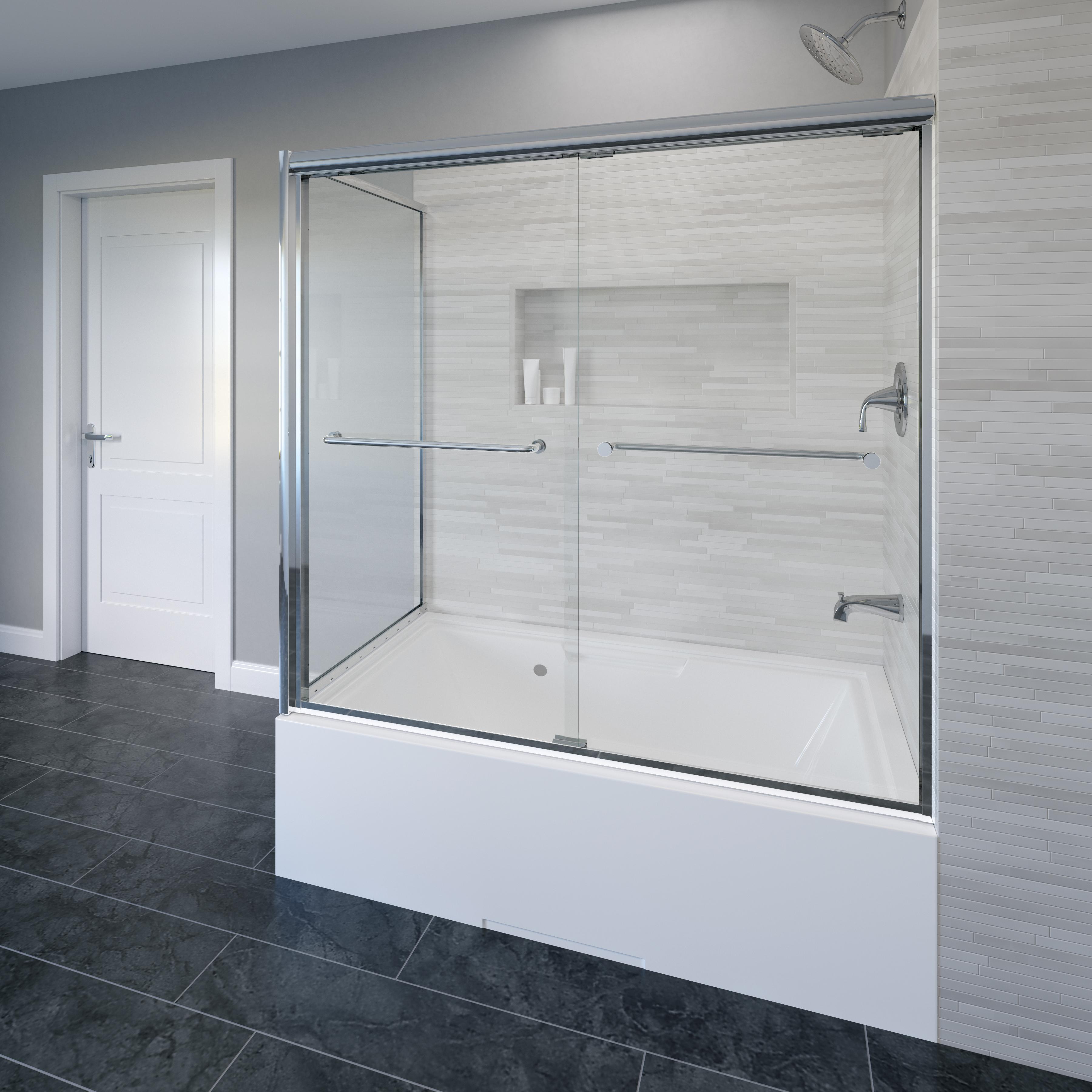 Infinity Semi Frameless 1 4 Inch Glass Sliding Door With Return Bath Tub Door Basco Shower Doors