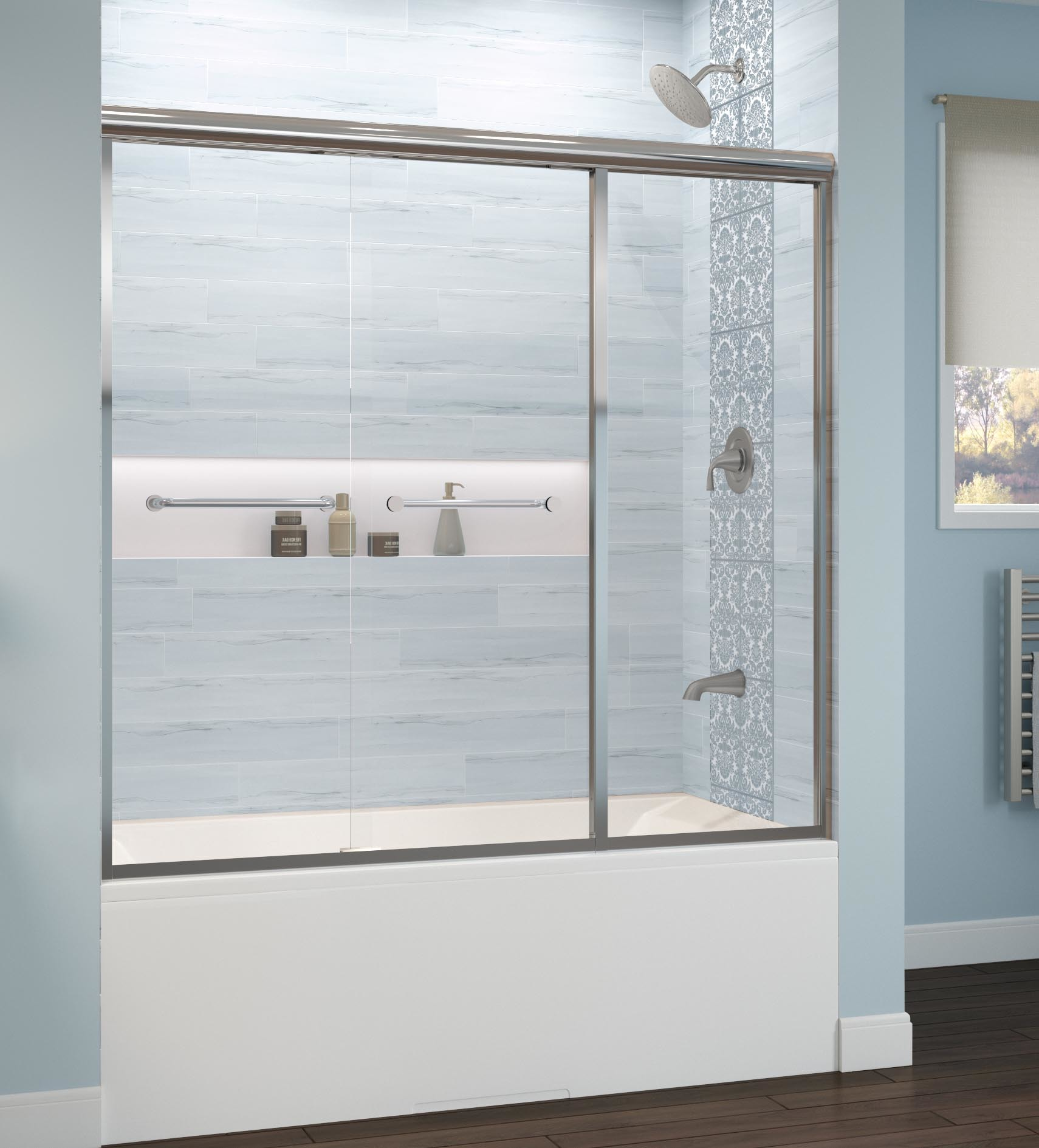 Infinity Semi Frameless 1 4 Inch Glass Sliding With Inline Panel Bath Tub Door Basco Shower Doors
