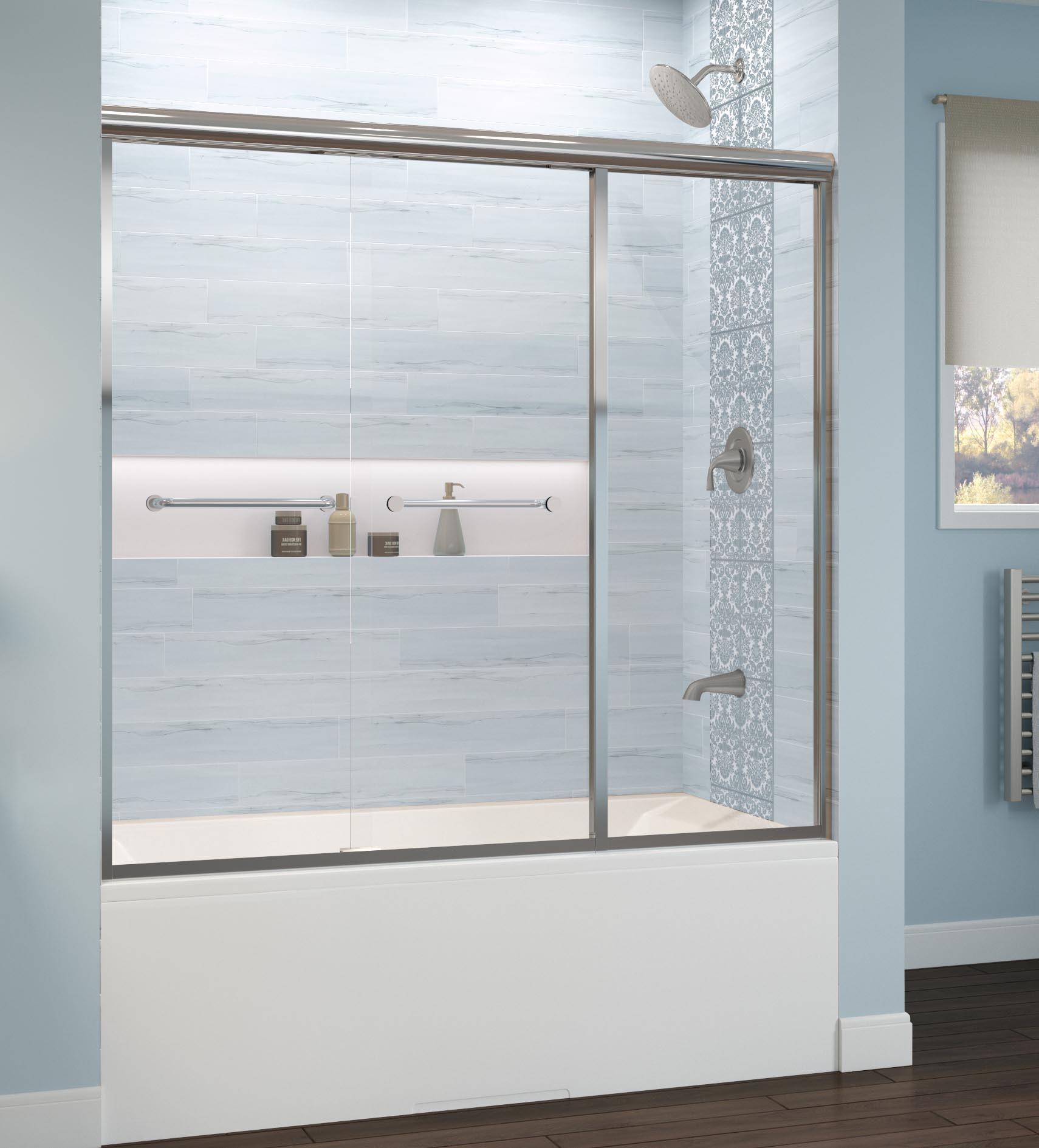 Infinity Semi Frameless 1 4 Inch Glass Sliding With Inline Panel Bath Tub Door Basco Shower Doors