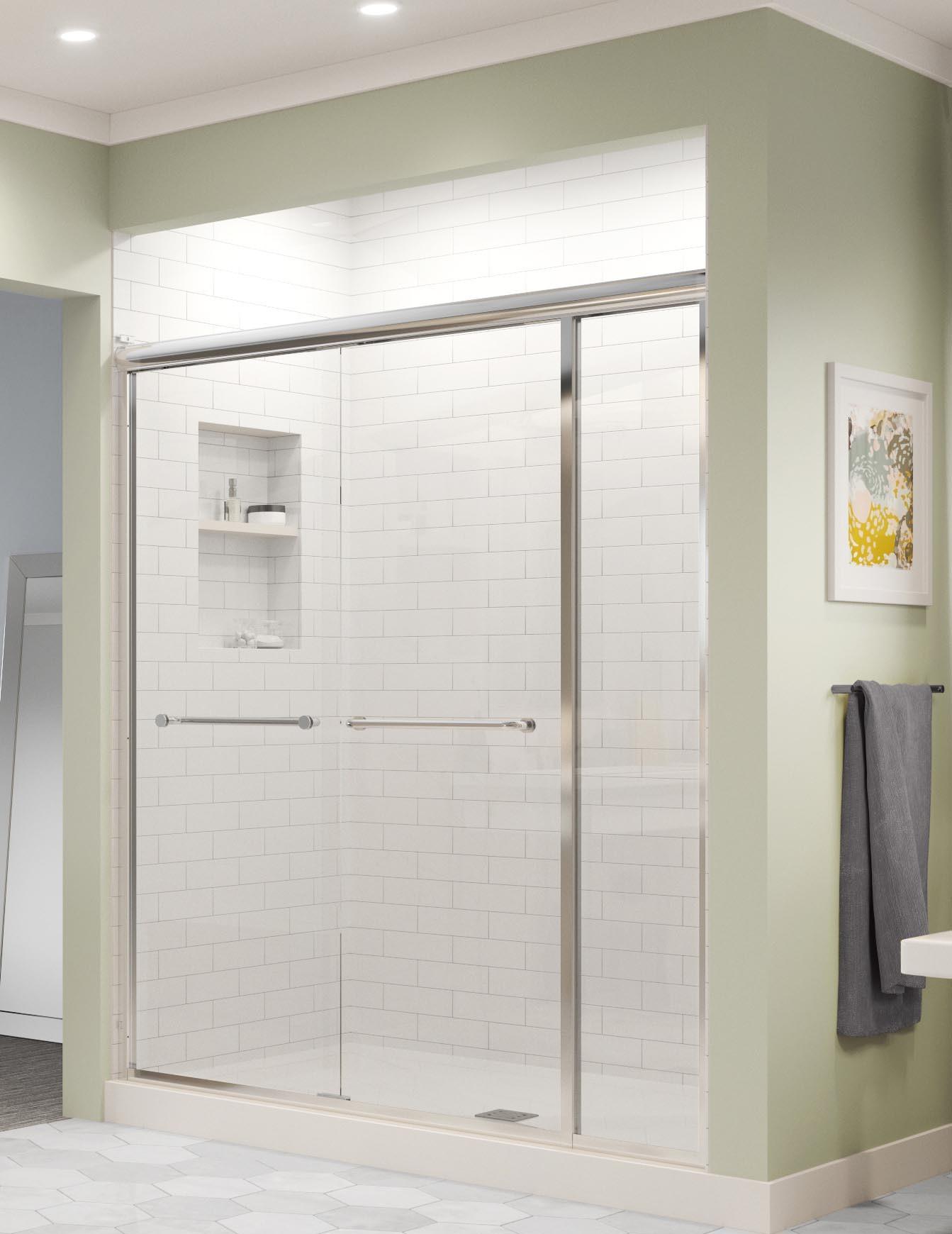 Infinity Semi Frameless 1 4 Inch Glass Sliding With Inline Panel Shower Door Basco Shower Doors