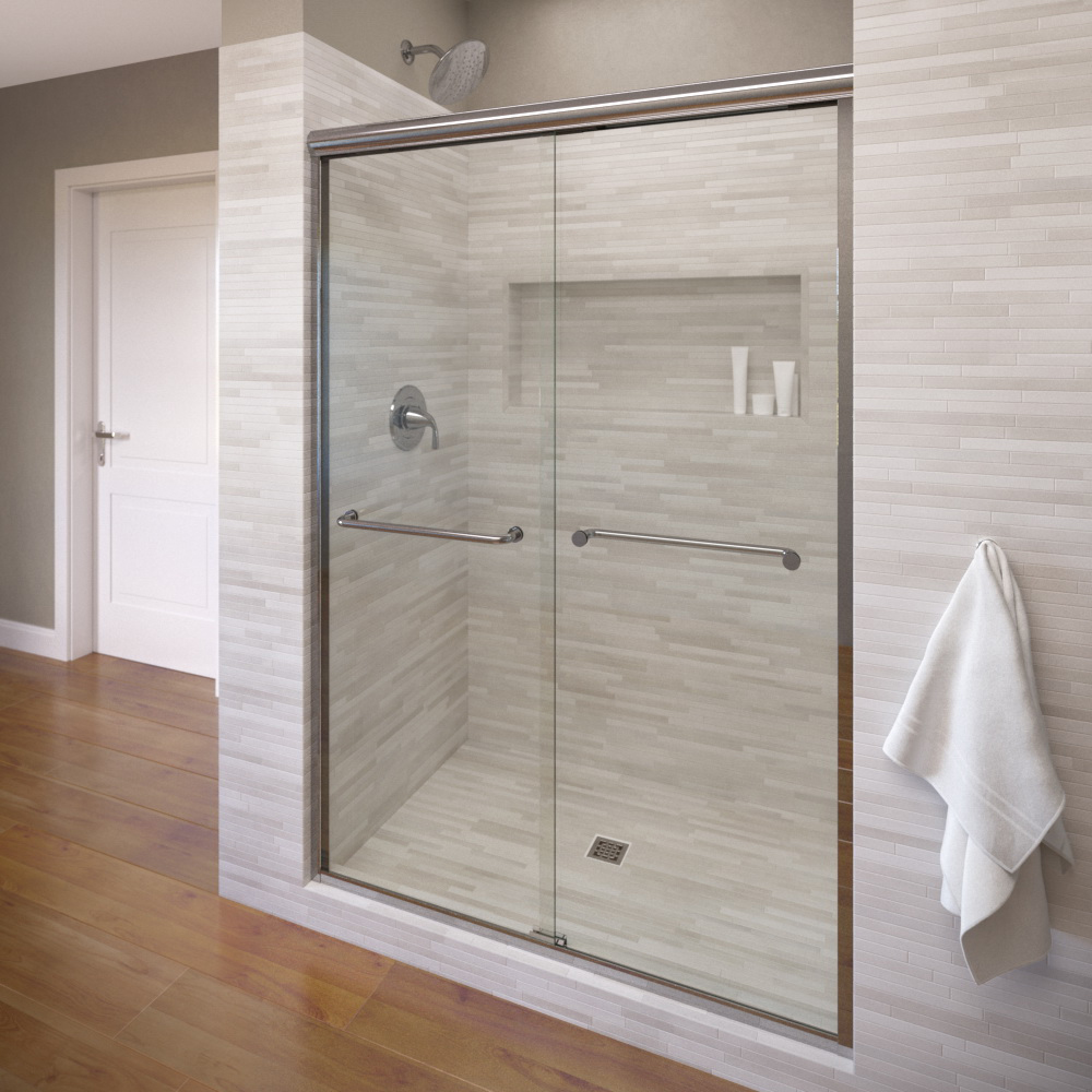 Bathroom Sliding Glass Doors: Infinity Semi-Frameless 1/4-inch Glass Sliding…