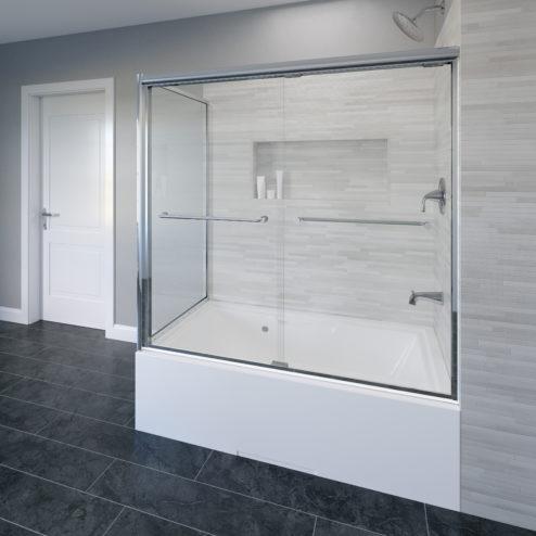 Infinity Semi-Frameless 1/4-inch Glass Sliding Door with Return Bath Tub Door