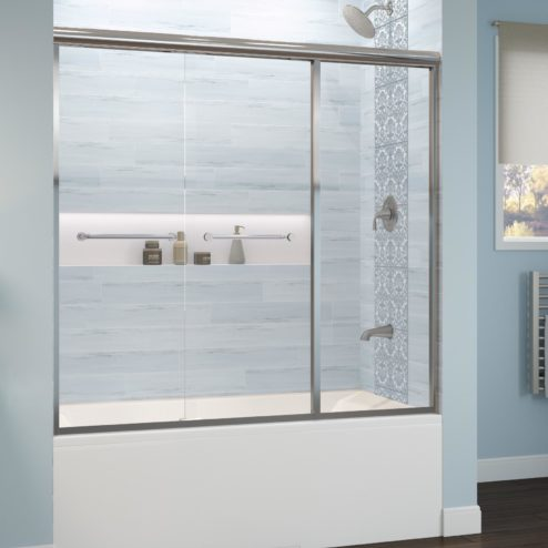 Infinity Semi-Frameless 1/4-inch Glass Sliding with Inline Panel Bath Tub Door