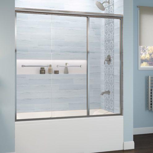 Infinity Semi-Frameless 1/4-inch Glass Sliding with Inline Panel Bath Tub Door