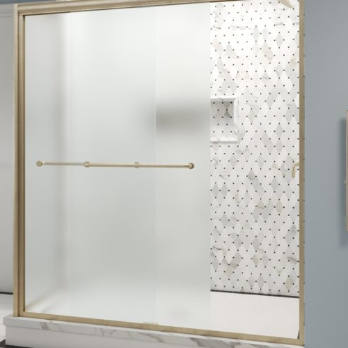 Infinity Semi-Frameless 1/4-inch Glass Sliding Door with Return Shower Door