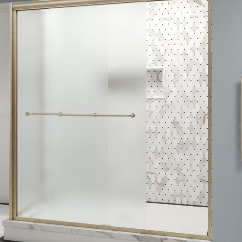 Infinity Semi-Frameless 1/4-inch Glass Sliding Door with Return Shower Door
