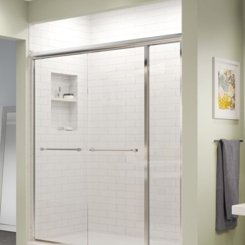 Infinity Semi-Frameless 1/4-inch Glass Sliding with Inline Panel Shower Door