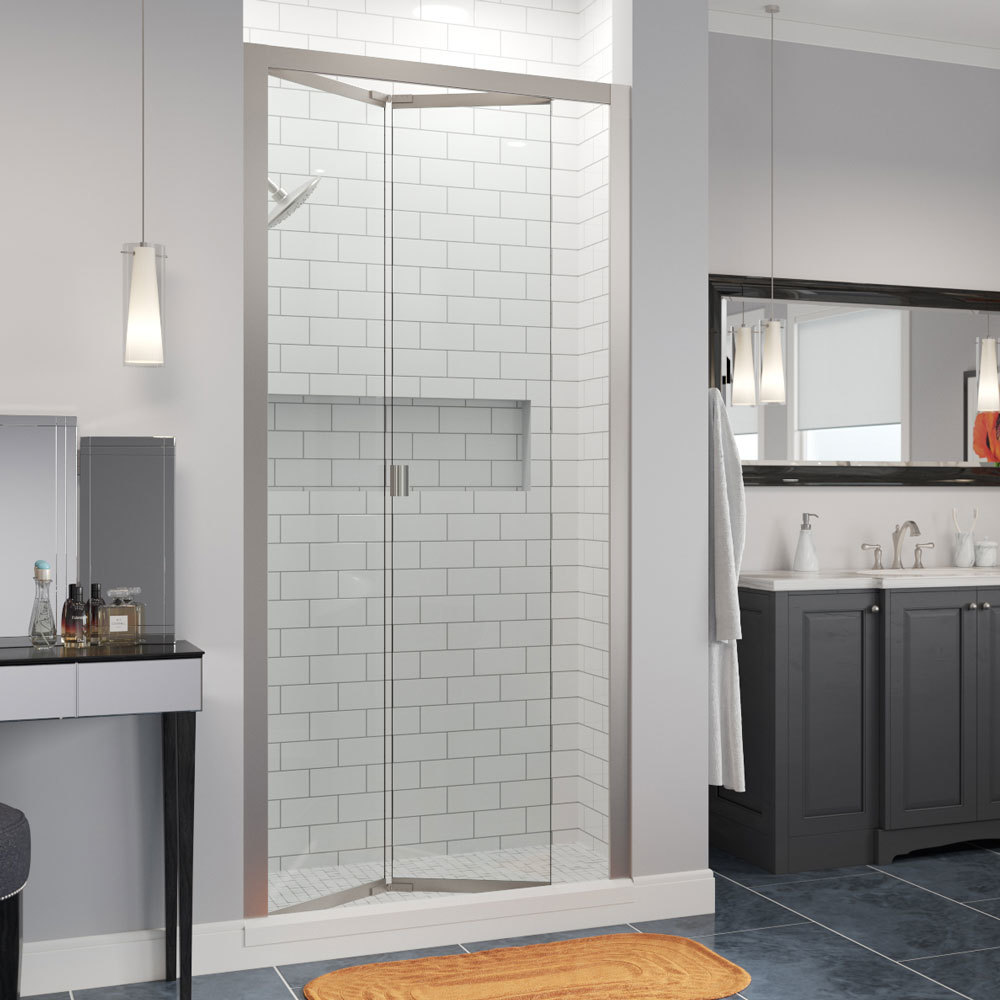 Infinity Semi Frameless 1 4 Inch Glass Bi Fold Shower Door Basco Shower Doors