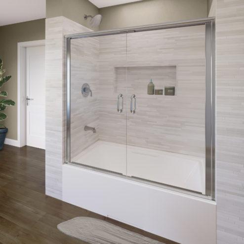 Infinity Semi-Frameless 1/4-inch Glass French Swing Bath Tub Doors