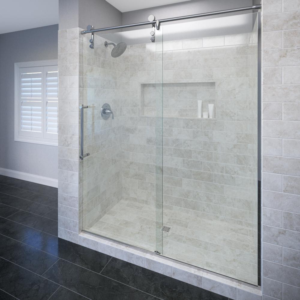 Rolaire Frameless 38 Inch Glass Rolling Door Basco Shower Doors