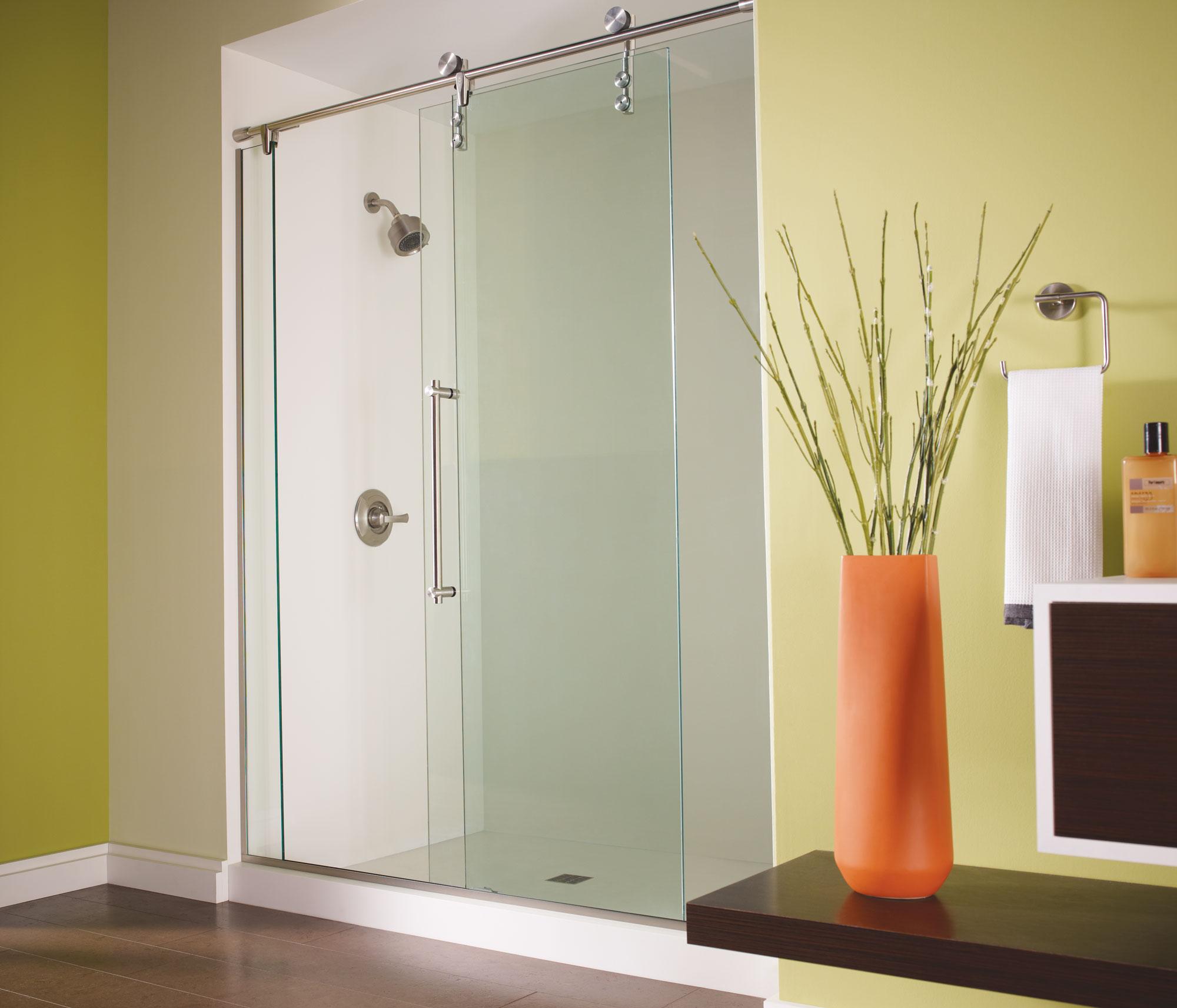 Rolling Glass Shower Doors.Rolaire Frameless 3 8 Inch Glass Panel Rolling Basco