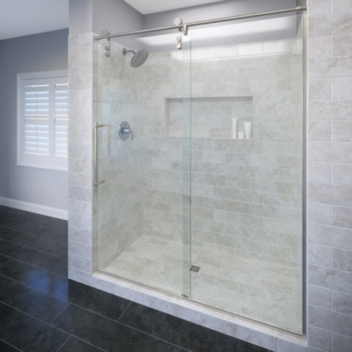Rolaire Frameless 3/8-inch Glass Rolling Door & Panel Shower Door