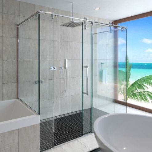 Rolaire Frameless 3/8-inch Glass Rolling Door, Inline Panel & Return Panel Shower Door