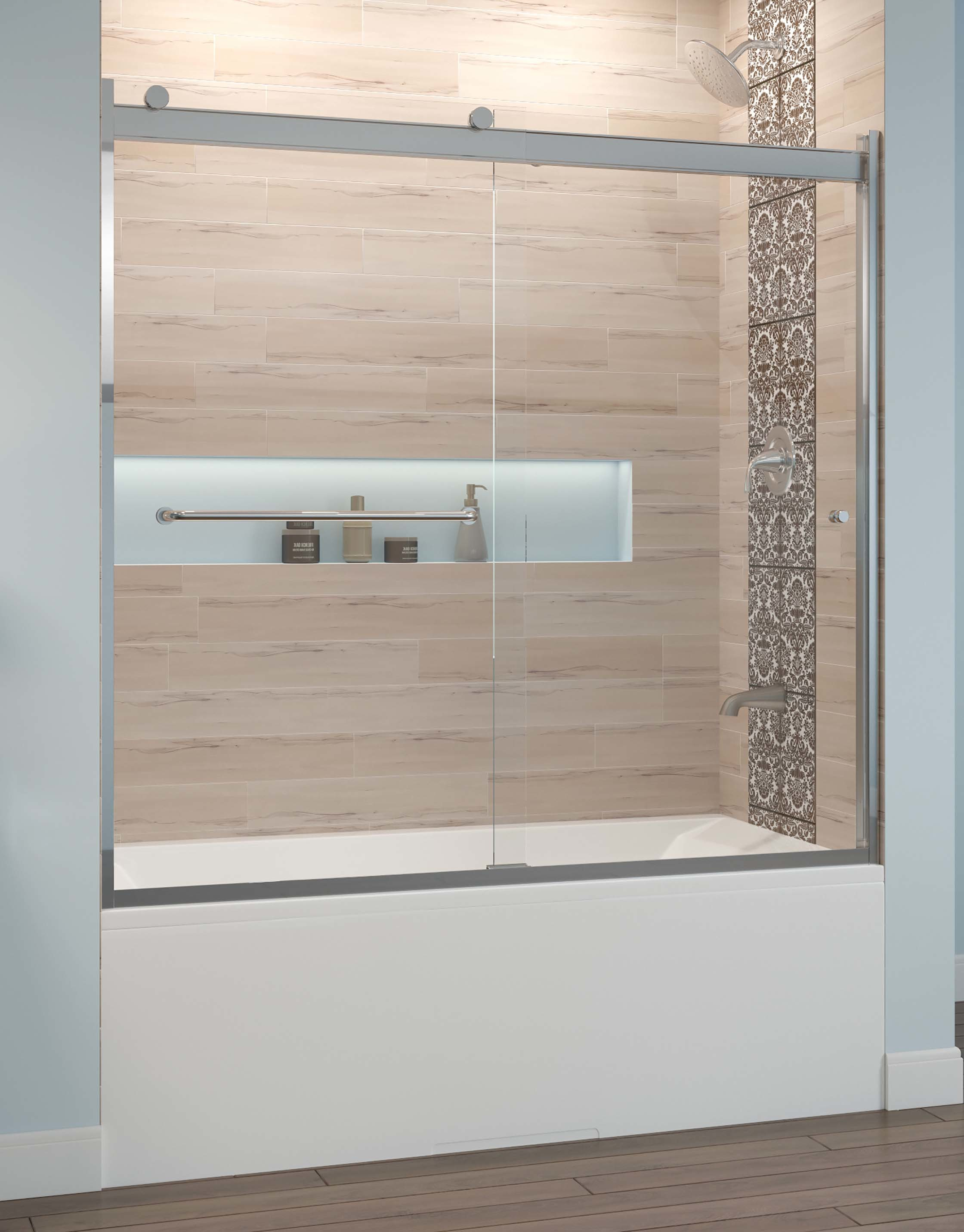 5497 & Rotolo Semi-Frameless 1/4-inch Glass Sliding Bath | Basco Shower Doors