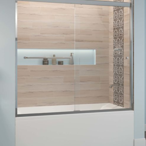 Rotolo Semi-Frameless 1/4-inch Glass Sliding Bath Tub Door