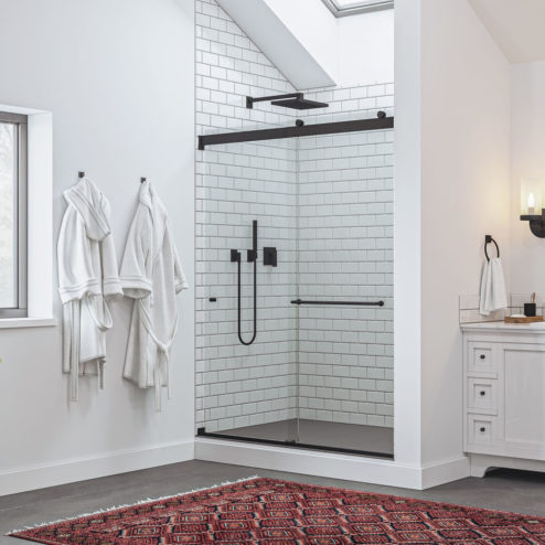 Rotolo Lux Frameless 3/8-inch Glass Rolling Shower Door