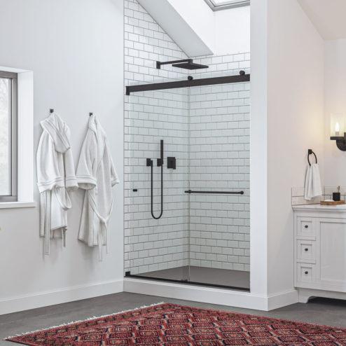 Rotolo Lux Semi-Frameless 1/4-inch Glass Sliding Shower Door