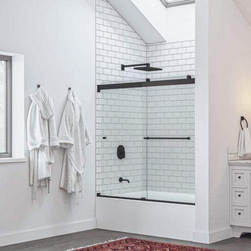 Rotolo Lux Semi-Frameless 1/4-inch Glass Sliding Bath Tub Door