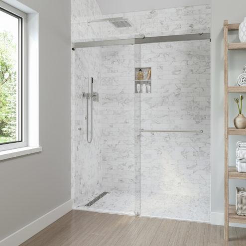 "Rotolo ""Zero-Threshold"" Lux Frameless 3/8"" Glass Rolling Shower Door"