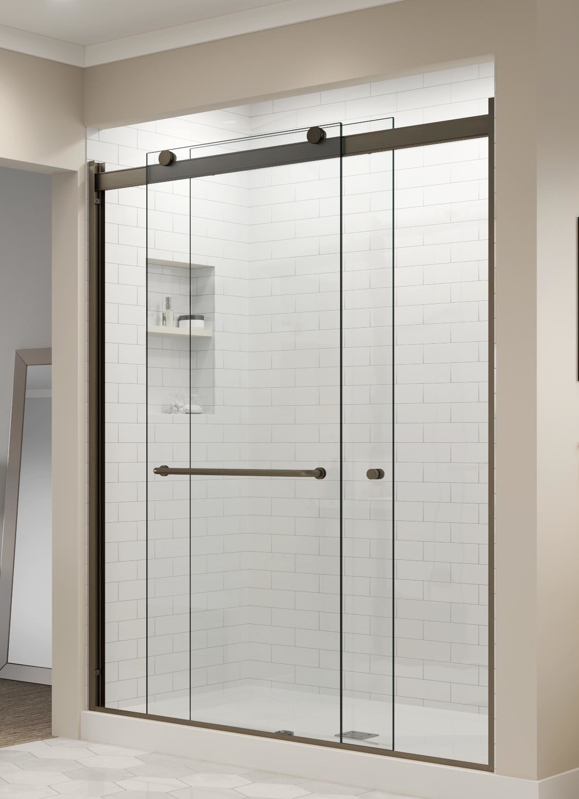 Rotolo Semi Frameless 3 8 Inch Glass Sliding Basco Shower
