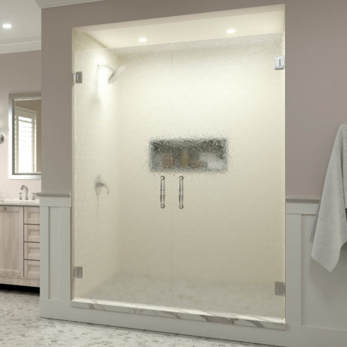 Tresor Frameless 3/8-inch Glass French Swing Shower Doors