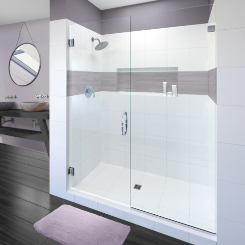 Tresor Frameless 3/8-inch Glass Swing Door & Panel Shower Door