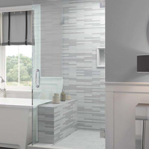 Tresor Frameless 3/8-inch Glass Swing Door & Return Panel Shower Door
