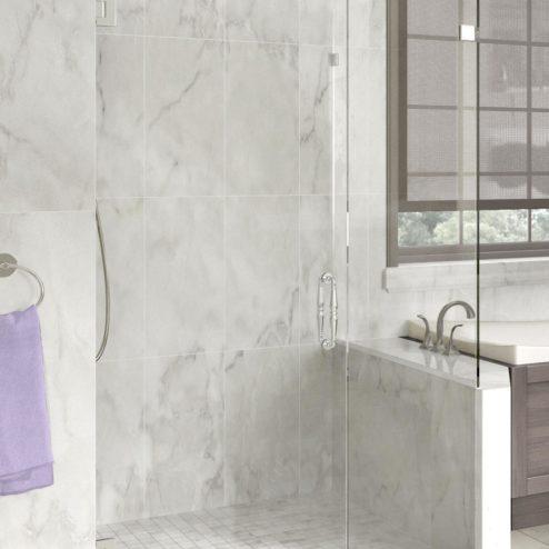 Tresor Frameless 3/8-inch Glass Swing Door, Inline Panel & Return Panel Shower Door