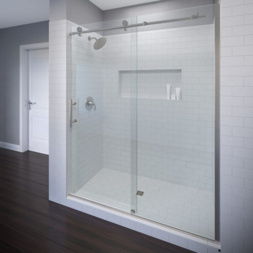Vinesse Frameless 3/8-inch Glass Rolling Door & Panel Shower Door