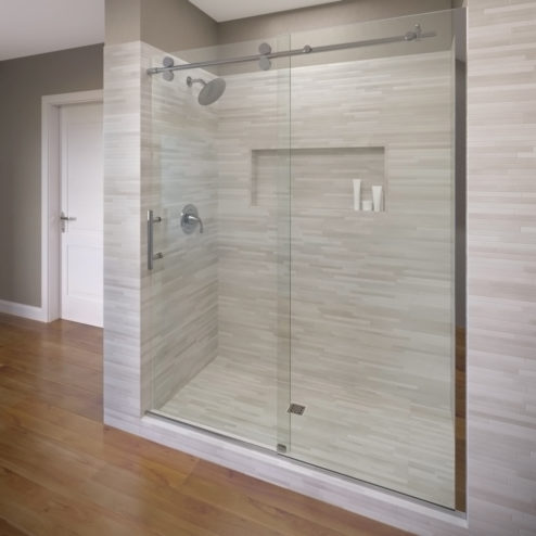 Vinesse Lux Frameless 3/8-inch Glass Rolling Door & Panel Shower Door
