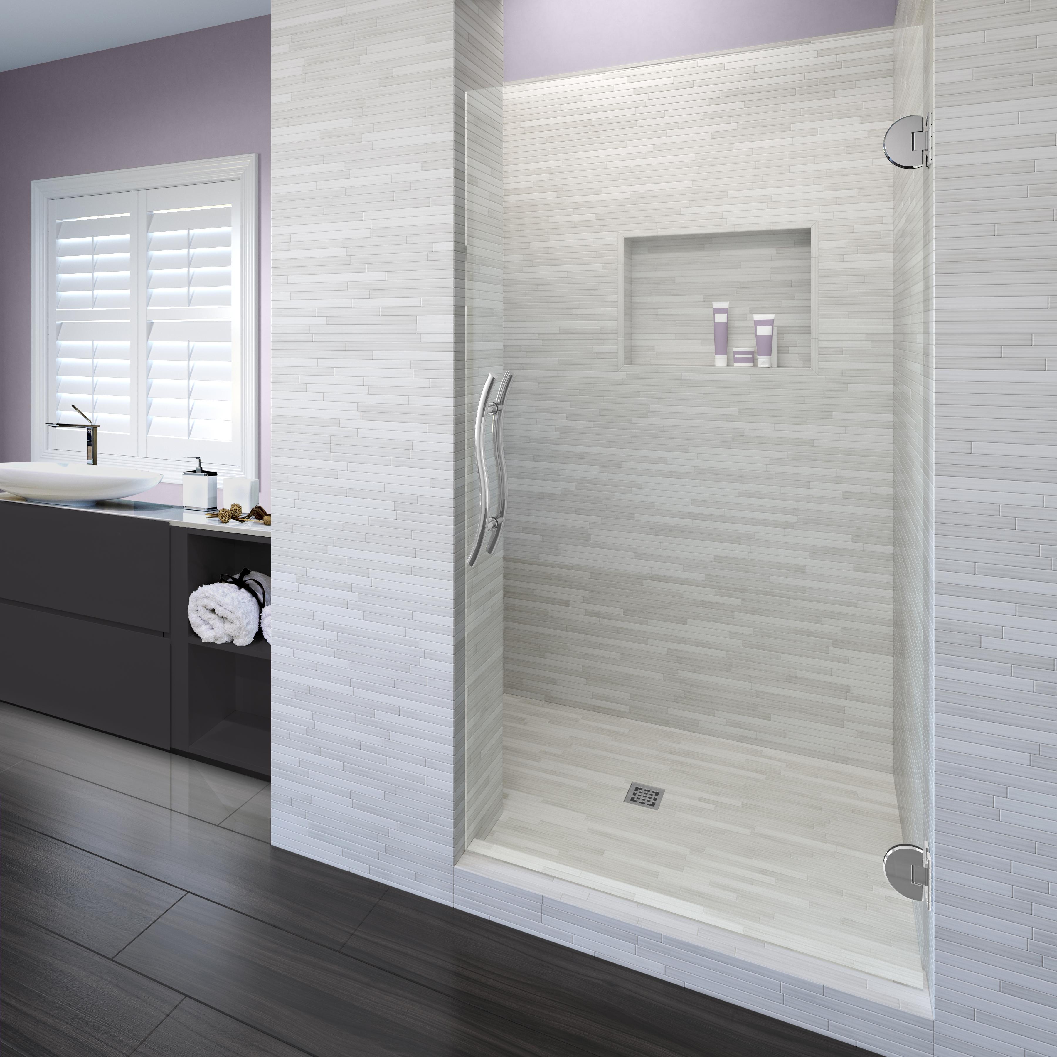 Vonse Frameless 3 8 Inch Glass Swing Shower Door Basco