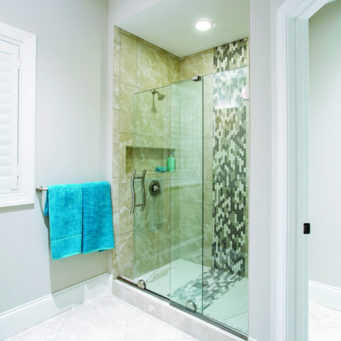 Vonse Frameless 3/8-inch Glass Door & 1/2-inch Panel Bottom Rolling Shower Door