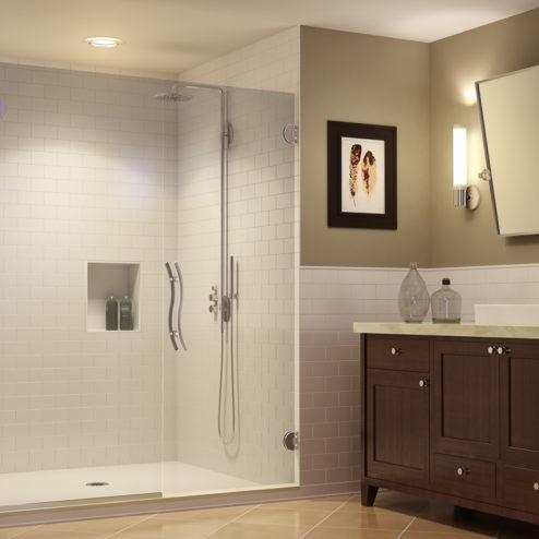 Vonse Frameless 3/8-inch Glass Swing Door & Panel Shower Door